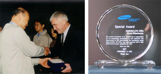 Nikolay Shpakovsky receiving the special Samsung award